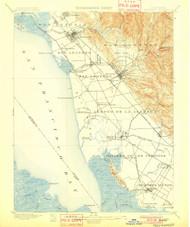 Haywards, California 1899 (1901) USGS Old Topo Map 15x15 Quad