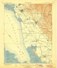Haywards, California 1899 (1906) USGS Old Topo Map 15x15 Quad