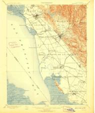 Haywards, California 1899 (1910) USGS Old Topo Map 15x15 Quad