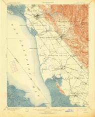 Haywards, California 1899 (1913) USGS Old Topo Map 15x15 Quad