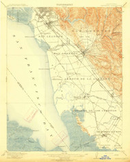 Haywards, California 1915 (1915) USGS Old Topo Map 15x15 Quad