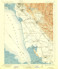Haywards, California 1915 (1928) USGS Old Topo Map 15x15 Quad