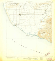 Hueneme, California 1904 (1904) USGS Old Topo Map 15x15 Quad