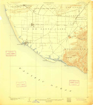 Hueneme, California 1904 (1911) USGS Old Topo Map 15x15 Quad