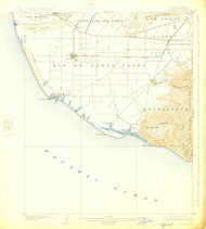Hueneme, California 1904 (1925) USGS Old Topo Map 15x15 Quad