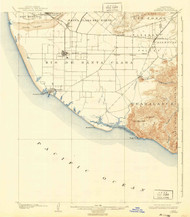 Hueneme, California 1904 (1940) USGS Old Topo Map 15x15 Quad