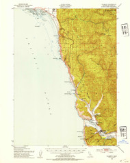 Klamath, California 1952 (1954) USGS Old Topo Map 15x15 Quad