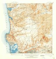 La Jolla, California 1930 (1955) USGS Old Topo Map 15x15 Quad