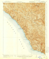 Lucia, California 1921 (1941) USGS Old Topo Map 15x15 Quad
