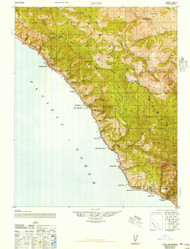 Lucia, California 1947 (1947) USGS Old Topo Map 15x15 Quad