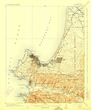 Monterey, California 1913 (1923) USGS Old Topo Map 15x15 Quad