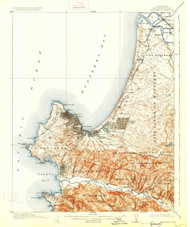 Monterey, California 1913 (1926) USGS Old Topo Map 15x15 Quad