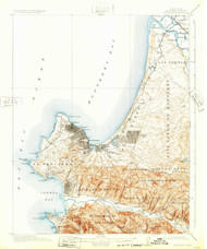 Monterey, California 1913 (1932) USGS Old Topo Map 15x15 Quad