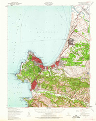Monterey, California 1947 (1963) USGS Old Topo Map 15x15 Quad