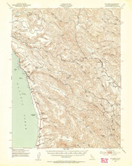 Navarro, California 1943 (1954a) USGS Old Topo Map 15x15 Quad