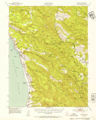 Navarro, California 1943 (1954b) USGS Old Topo Map 15x15 Quad