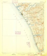 Oceanside, California 1901 (1901) USGS Old Topo Map 15x15 Quad