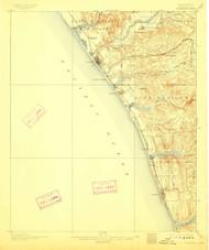 Oceanside, California 1901 (1911) USGS Old Topo Map 15x15 Quad