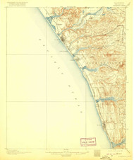 Oceanside, California 1901 (1920) USGS Old Topo Map 15x15 Quad