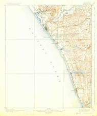 Oceanside, California 1901 (1925) USGS Old Topo Map 15x15 Quad