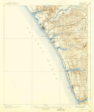 Oceanside, California 1901 (1939) USGS Old Topo Map 15x15 Quad