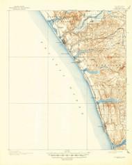 Oceanside, California 1901 (1947) USGS Old Topo Map 15x15 Quad