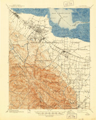 Palo Alto, California 1899 (1944) USGS Old Topo Map 15x15 Quad