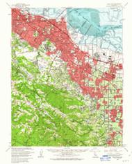 Palo Alto, California 1961 (1963) USGS Old Topo Map 15x15 Quad