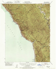 Piercy, California 1950 (1952) USGS Old Topo Map 15x15 Quad