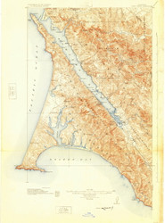 Point Reyes, California 1918 (1925) USGS Old Topo Map 15x15 Quad