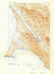 Point Reyes, California 1918 (1930) USGS Old Topo Map 15x15 Quad