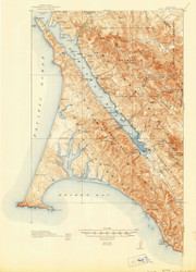 Point Reyes, California 1918 (1944) USGS Old Topo Map 15x15 Quad
