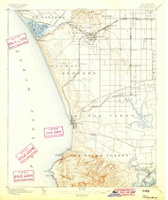 Redondo, California 1896 (1899) USGS Old Topo Map 15x15 Quad