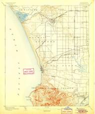Redondo, California 1896 (1905) USGS Old Topo Map 15x15 Quad