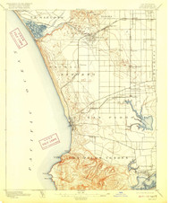 Redondo, California 1896 (1916) USGS Old Topo Map 15x15 Quad