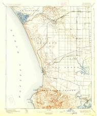 Redondo, California 1896 (1926) USGS Old Topo Map 15x15 Quad