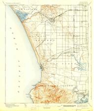 Redondo, California 1896 (1927) USGS Old Topo Map 15x15 Quad