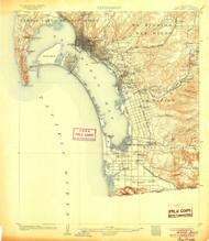 San Diego, California 1904 (1904) USGS Old Topo Map 15x15 Quad