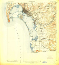 San Diego, California 1904 (1908) USGS Old Topo Map 15x15 Quad
