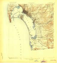 San Diego, California 1904 (1920) USGS Old Topo Map 15x15 Quad
