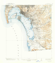 San Diego, California 1904 (1941a) USGS Old Topo Map 15x15 Quad