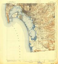 San Diego, California 1904 (1941b) USGS Old Topo Map 15x15 Quad