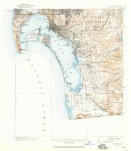 San Diego, California 1930 (1960) USGS Old Topo Map 15x15 Quad