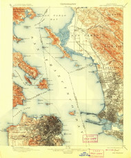 SanFrancisco, California 1899 (1908) USGS Old Topo Map 15x15 Quad