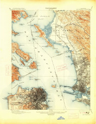 SanFrancisco, California 1899 (1914) USGS Old Topo Map 15x15 Quad