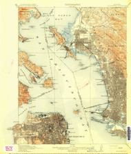 SanFrancisco, California 1915 (1915) USGS Old Topo Map 15x15 Quad
