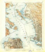 SanFrancisco, California 1915 (1929) USGS Old Topo Map 15x15 Quad