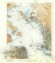 SanFrancisco, California 1915 (1940) USGS Old Topo Map 15x15 Quad