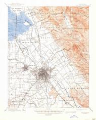 San Jose, California 1889 (1946) USGS Old Topo Map 15x15 Quad