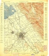 San Jose, California 1899 (1899) USGS Old Topo Map 15x15 Quad